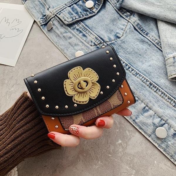 山茶花扣韓版拉鏈短款小錢包 女士短款錢夾皮夾 多功能零錢包女孩 女生大容量短夾時尚豎款卡包