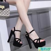 女鞋14cm/15公分超高跟涼鞋粗跟舞臺演出鞋車模走秀鞋