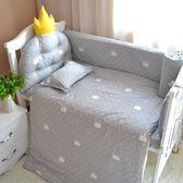 北歐風新生嬰兒童棉質床品皇冠造型床圍床單被三四多件套 限時八五折