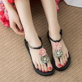 花朵涼鞋女夏平跟新款波西米亞民族風平底百搭度假海邊沙灘鞋 Korea時尚記