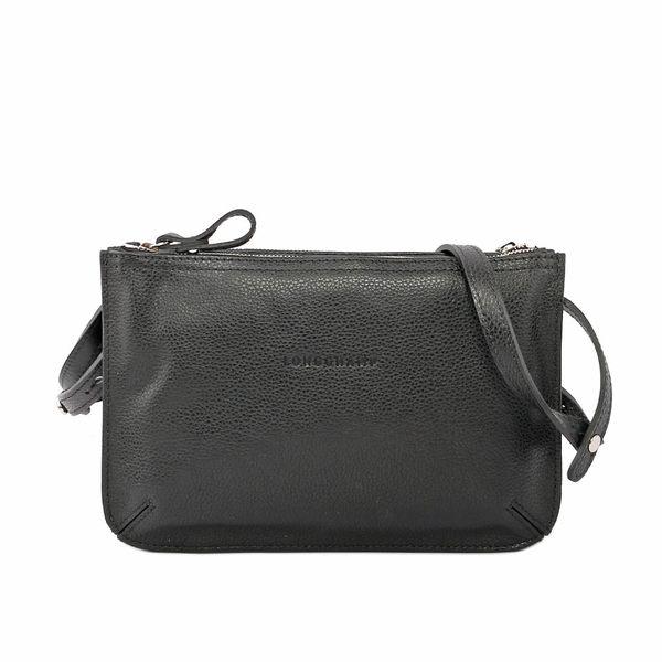 【LONGCHAMP】LE FOULONNE HERREN小牛皮斜背包(黑色) 2072021047