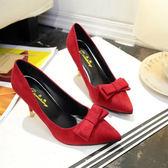 低跟鞋 春秋百搭尖頭淺口高跟鞋甜美蝴蝶結細跟單鞋紅色婚鞋女鞋 傾城小鋪