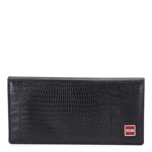 《高仕皮包》【免運費】蜥蜴壓紋多透明卡長夾-黑K101-02-BLK