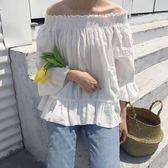 韓版小清新甜美木耳荷葉邊領一字肩露肩棉麻襯衫上衣娃娃衫女 米娜小鋪
