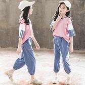 女童運動套裝 女童夏裝新款兒童裝超洋氣夏季中大童韓版小學生運動套裝 快速出貨