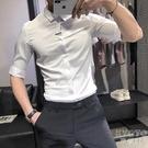 夏季修身五分袖襯衫男士休閒短袖襯衣男潮流百搭帥氣中袖寸衫 快速出貨
