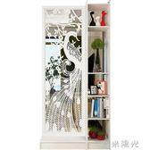 原創現代簡約孔雀雙面間廳玄關柜隔斷置物架屏風裝飾柜隔斷柜WD 一米陽光