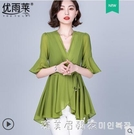 時尚遮肚子上衣女夏裝2021年新款潮夏季短袖中長款收腰顯瘦雪紡衫 美眉新品