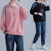 減齡刺繡大學T上衣-大尺碼 獨具衣格