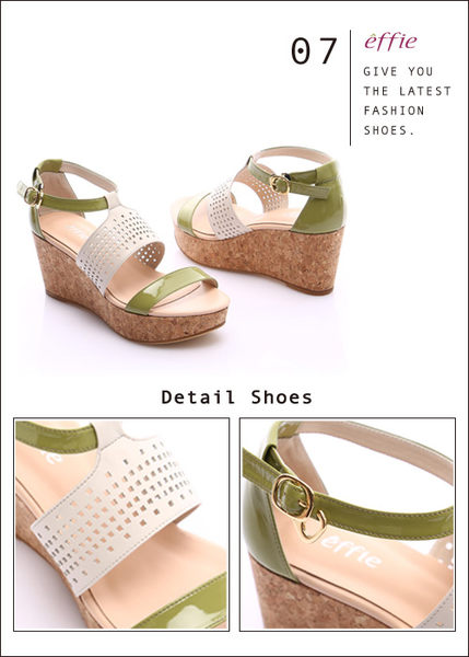 effie 摩登美型 羊皮拼接配色飾扣楔型涼鞋  綠