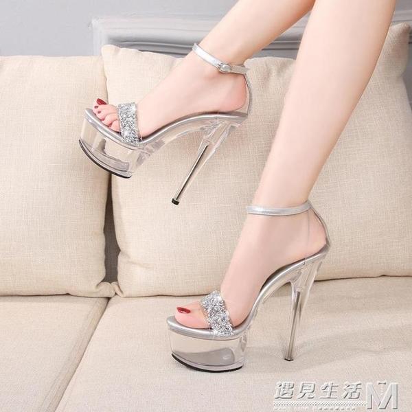 模特透明水晶跟女鞋 夜店超高跟涼鞋防水台 15cm走秀細跟鋼管舞鞋 遇見生活