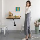 百貨專櫃女裝 可愛吊帶連身褲 肩帶V領設計 寬褲修飾身型