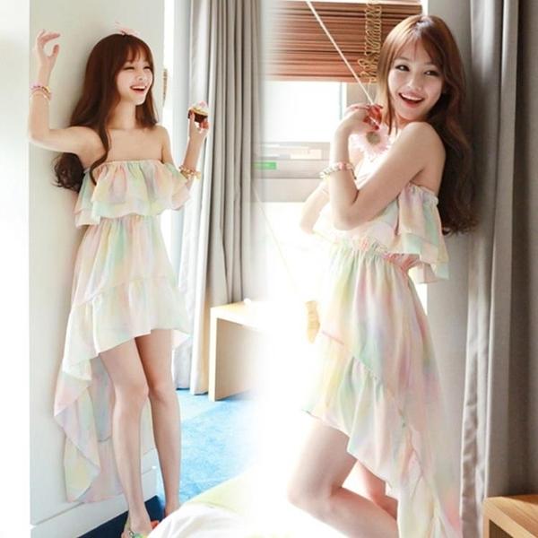一字領洋裝 韓版新款甜美氣質彩色沙灘裙長裙修身顯瘦抹胸雪紡連身裙