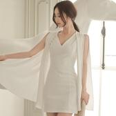 歐媛韓版 夏季新款女裝性感V領無袖修身拼接雪紡斗篷式包臀連身裙 中秋降價
