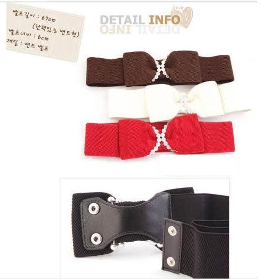 ★草魚妹★H391腰封蝴蝶結點鑽造型鬆緊腰封腰帶皮帶,售價180元
