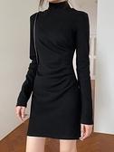 連衣裙 黑色打底裙包臀連衣裙女春針織加絨氣質修身收腰顯瘦內搭短裙子【快速出貨八折搶購】