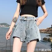 牛仔短褲~ 高腰牛仔超短褲女2021新款夏季寬鬆顯瘦寬管a字百搭熱褲薄款潮ins