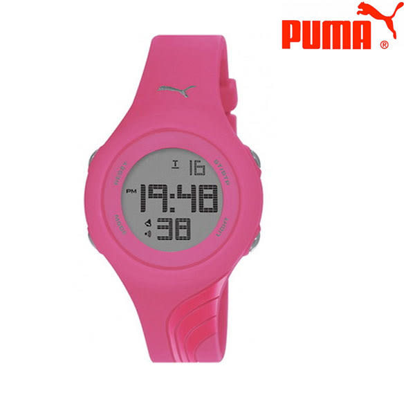 PUMA 多功能運動矽膠帶電子錶x40mm桃紅灰 PU911092010・公司貨|名人鐘錶高雄門市