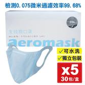 (5盒) 3TA 三達W型納米生技膜口罩(藍) 30入X5盒 (可水洗 獨立包裝) 專品藥局 【2015592】