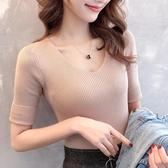 短袖針織上衣 春夏裝韓版V領短袖T恤針織打底衫內搭中袖緊身上衣五分袖薄毛衣女 小宅女