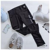 Catworld 藍彩雜訊紋。拼接網紗彈力運動七分褲【12500249】‧S-XL