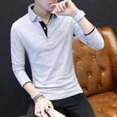 長袖t恤男韓版修身男裝大碼男士翻領polo衫長袖撞色薄款上衣 黛尼時尚精品