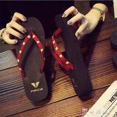 坡跟人字拖女夏時尚外穿厚底沙灘鞋夾腳平底拖鞋休閒涼拖海邊度假 可可鞋櫃
