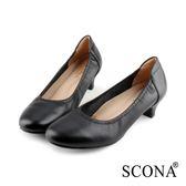 SCONA 蘇格南 全真皮 都會簡約真皮低跟鞋 黑色 22812-1