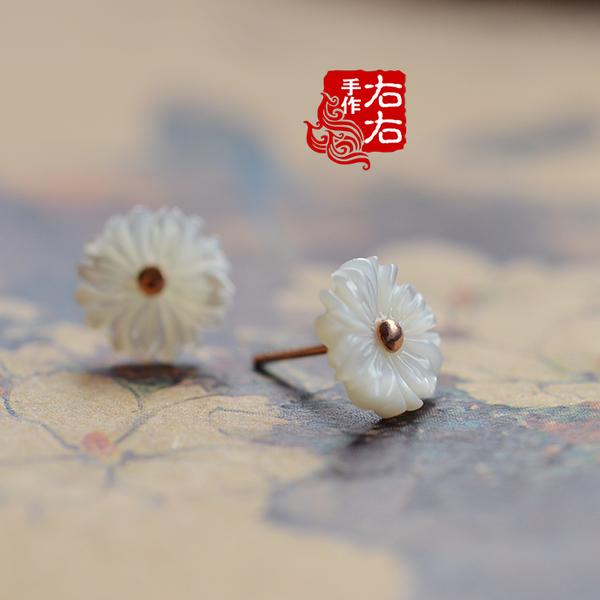 手工925純銀雛菊花母貝耳釘古典古風中國風耳飾配盒1入