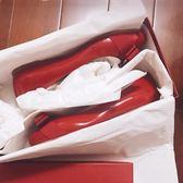 婚鞋蝴蝶結紅色平底鞋婚鞋中跟百搭仙女粗跟單鞋淑女 貝芙莉女鞋