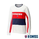 K-SWISS Heritage Round Sweater圓領長袖上衣-女-白