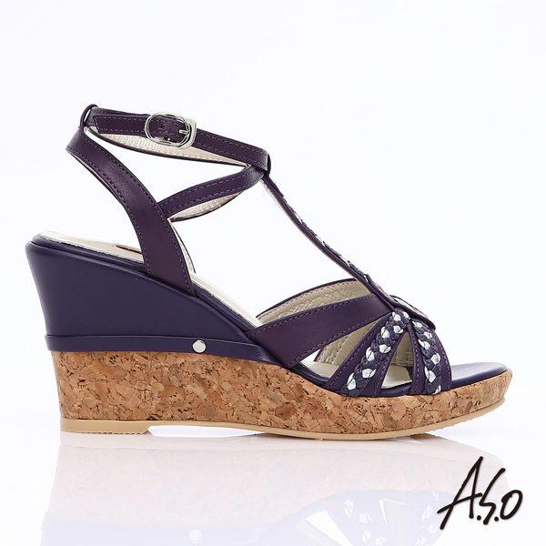 A.S.O 輕音躍 牛皮拼接雙色編織帶楔型涼鞋  紫