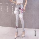 夏2020新款時尚刺繡荷花薄款顯瘦小腳褲女士牛仔褲緊身鉛筆長褲子 OO9865[黑色妹妹]