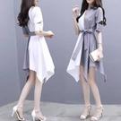 POLO領洋裝 Polo領拼接洋裝女夏裝法式顯瘦中長款不規則氣質設計感襯衫裙子 朵拉朵