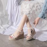 楔型鞋 坡跟涼鞋女仙女風夏季韓版百搭一字帶羅馬鞋厚底網紅女鞋 【韓國時尚週】