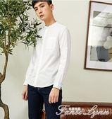 長袖襯衫男立領純棉白襯衣男士秋裝青少年韓版純色上衣薄款 范思蓮恩