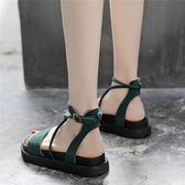 涼鞋女夏平底學生韓厚底復古羅馬鬆糕仙女鞋