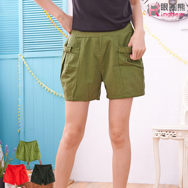 質感短褲--可愛蝴蝶結造型口袋休閒短褲(黑.紅.綠XL-3L)-R72眼圈熊中大尺碼