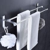 免打孔毛巾架衛生間浴巾架吸盤式掛鉤浴室毛巾掛架毛巾桿單桿雙桿 挪威森林