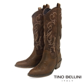 Tino Bellini 仿舊牛仔風電繡圖騰中筒靴 _ 咖 FS8508