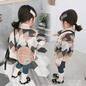 馬甲毛衣女寶寶純棉針織開衫春秋嬰兒童洋氣針織外套 七色堇