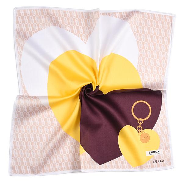 FURLA愛心鎖印花純綿帕領巾(杏色)989250-14