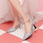 女童水晶公主鞋粗跟兒童高跟鞋模特走秀中大童演出鞋小女孩禮服鞋 幸福第一站