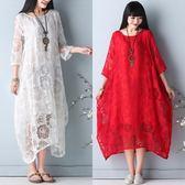 洋裝 連身裙新品文藝薔薇花仙氣連衣裙民族風中大尺碼寬鬆鏤空蕾絲長裙