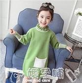 女童洋裝 女童連身裙2021年秋冬季裝新款韓版洋氣兒童針織衫中長款毛衣裙 嬡孕哺 新品