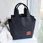 【防水款水杯位】飯盒袋手提包韓版清新便當包防水女包飯盒包大號『CR水晶鞋坊』