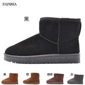 PAPORA保暖多色選擇中筒短靴雪靴 黑/黃/棕/咖啡/灰(偏小)