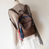 後背包-真皮-彩色拉鍊牛皮純色女雙肩包2色73yi29【巴黎精品】