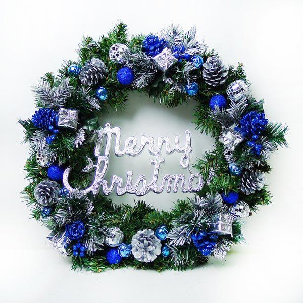 20吋豪華高級聖誕花圈(藍銀色系)(台灣手工組裝出貨)