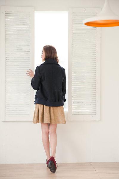 【RETRO GIRL】雙排扣袖口羅紋短版外套~四色
